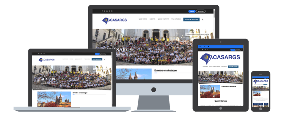Website da Acasargs em diversos dispositivos
